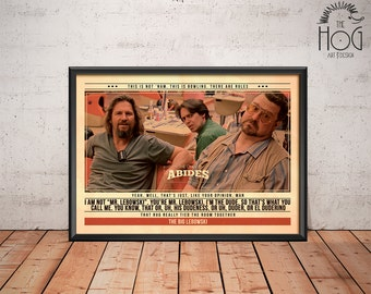 The Big Lebowski Poster - Quote Retro Movie Poster - Movie Print, Film Poster, Wall Art, Coen Brothers Print