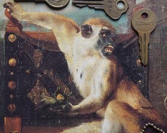 Brass Vintage Padlock Keys // Steampunk Gothic Metal Art // Perfectly Aged Metal Patina // Jewelry Journal Mixed Media Creative Art Supply