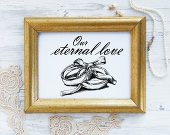 Wedding sign, Quote prints, Our eternal love, Wedding gift, Wedding rings print, Couple gift, Love sign
