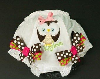 Personalize Owl Diaper Cover, Baby Girl Owl Bloomer, Monogram Toddler Panty Cover, Baby Shower Gift, Birthday Party Outfit, Owl Baby Girl