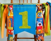 Monster Birthday Party Banner, Rag Tie Highchair Banner, Little Monster 1st Birthday Banner, Monster themed party, photo prop, Monster party