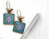 SOHA bird square earrings - Persian tile design Earrings - Persian jewelry- Oriental - star - sky