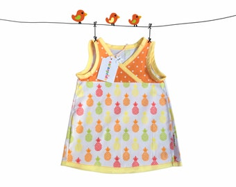 baby pineapple tunic, pineapple girl dress, orange toddler dress, customized baby clothes, dress 9 Months, orange baby dress, toddler dress