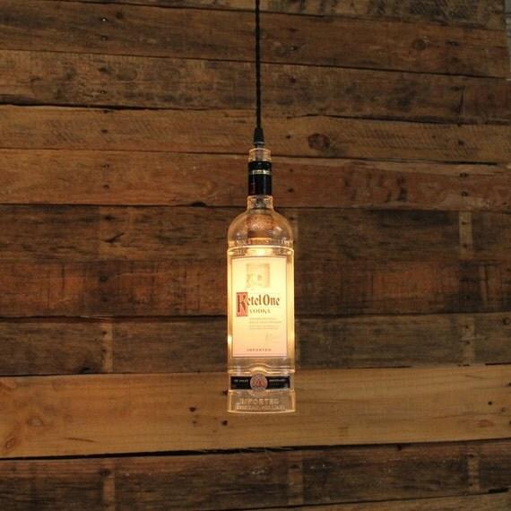 Ketel One Vodka Bottle Pendant Light - Upcycled Industrial Hanging Light - Handmade Bottle Light Fixture, Dorm Lighting, Apartment Light