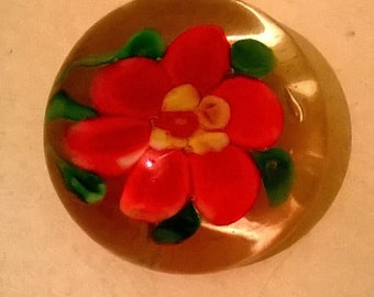 Murano Glass Paperweight With Floating Flower