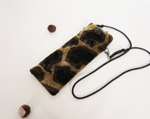 Eyeglasses case animal giraffe pattern upholstery fabric Glasses pouch detachable long strap Autumn gift for woman Christmas Gift for her