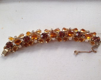 Juliana D&E Clear and Rootbeer Brown Givre Rhinestone Five Link Bracelet 0468