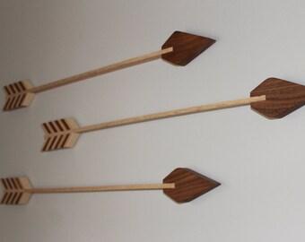 Wood Arrows, Nursery Decor, Bravery, Courage, Arrows, Home Decorations, Wall Arrow, Gray Mahogany, Walnut, Handmade, Baby Room Archery