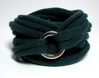 Wrap T-shirt Bracelet, Recycled Bracelet, Green Bracelet, T-Shirt Jewelry, Eco Bracelet, Eco-Friendly Jewelry, Repurposed Silver Jewelry