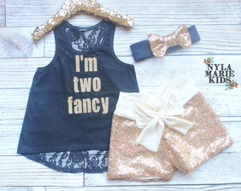 Second Birthday Outfit Girl, Baby Girl Second Birthday Outfit, I'm Two Fancy, Toddler Birthday, Baby Sequin Shorts, Baby Girl 2nd Birthday