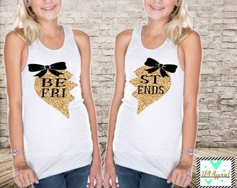 Best Friends Tank Top Glitter Best Friends Forever Shirts Custom Best Friend Shirts BFF Matching Shirt set