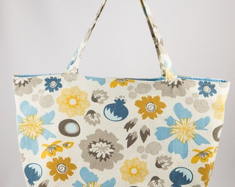 Shopping bag, Market bag, Tote bag, Floral, Grey, Blue, Gold