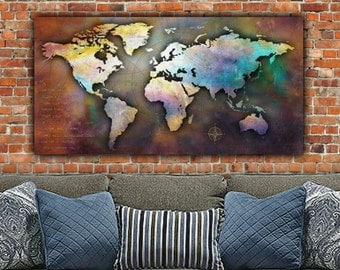 Single Large Canvas World Map, 48x24, Antique Map, Canvas Large Wall Art, World Map Canvas, Big Apple, World Map Canvas, Canvas Map art