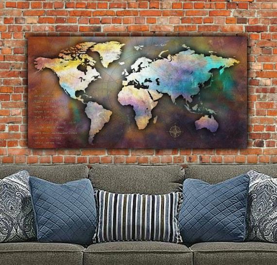 Single Large Canvas World Map X Antique Map World Map - Large world map antique