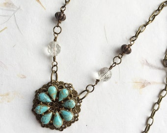 Re-purposed necklace, handmade necklace, up-cycled vintage necklace, clear glass beads, antique brass, turquoise, bronze