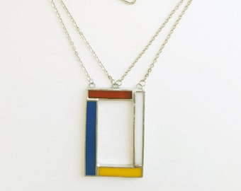 Stained glass pendant-Mondrian-blue-red-yellow-white-modern-hipster-geometrical