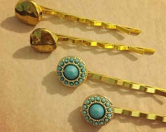 Turquoise Bobby Pins, Gold Bobby Pins, Gifts, Hair Pins