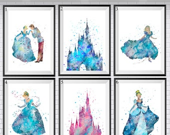 Disney prints, Nursery prints,Choose from 24,Princess prints,Cinderella print, Watercolor print, Room Decor, Girls decor,