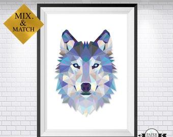 Wolf print, Wolf art, Wolf wall art, Geometrical wolf, Wolf face, Nursery print, Boys prints,