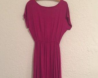 Vintage Magenta Short-Sleeve Dress