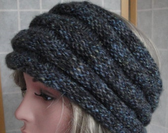 grey knit headwarmer, grey cowl, earwarmer or cowl, grey blue neckwarmer, knitted cowl, two way cowl, charcoal mix cowl, winter warmers