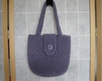 lilac felt handbag, wool felt purse, day to evening bag, felted knit purse, pastel lilac purse, boucle felt purse, button-tab handbag, purse