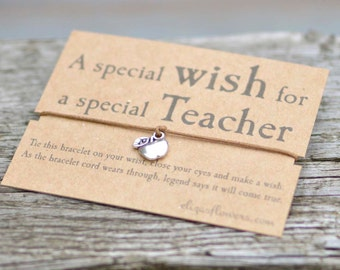 Special Teacher Wish Bracelet, Teacher Charm Bracelet, Apple Charm Wish Bracelet, Gift Bracelet with Kraft Card.