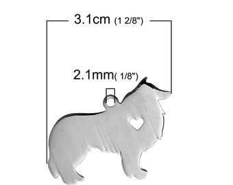 Collie Dog Charm Stainless Steel, Blank Dog Tags, Stamping Supplies, Collie Pendant, 0505, 751
