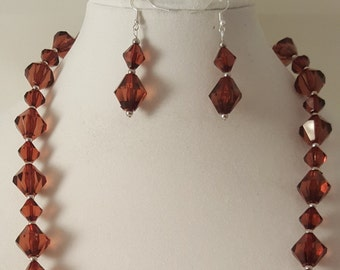 Brown Necklace - Brown Earrings - Brown Jewelry Set - Brown Jewelry - Acrylic Bead Necklace - Brown Acrylic Diamond Jewelry Set - Brown Set