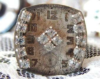 Beautiful Vintage Steampunk Watch Face Ring with Rhinestone Accents