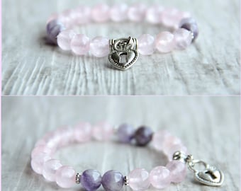 Pink heart bracelet Rose quartz Amethyst beads Tender bracelet Gift for sister Present for girlfriend Gift for mom Gift for girl