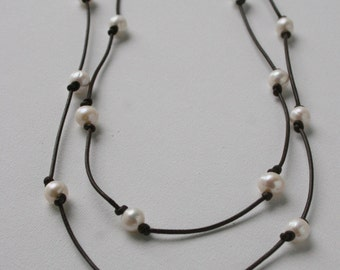Long Freshwater Pearl and Leather Necklace