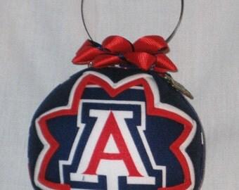 UNIVERSITY of ARIZONA Ornament Made From UofA Fabric,Arizona Wildcats,BearDown Arizona,UofA Ornaments,Wildcats Ornaments, Quilted Ornaments