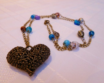 Brown, Blue & Purple Beaded Long Antique Bronze Chain Necklace with Heart Pendant, Sweater Necklace, Heart Necklace, Present, Gift For Her