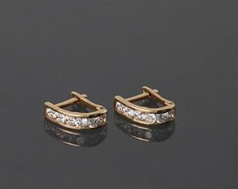 Gold earrings, 14k gold earrings, Solid gold earrings, Small gold earrings, Tiny gold earrings, Elegant earrings