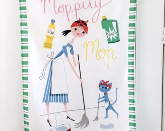 Mrs Mop, Moppity Mop Tea Towel, Kitchen Linen, Dish Towel, Textiles