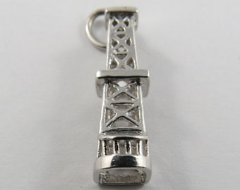 Oil Rig Drill Tower Sterling Silver Charm.
