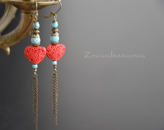 Tibetan Style Cinnabar and Turquoise Beaded Earrings with Long Antique Bronze Chain Tassels