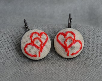 Hearts Embroidered Earrings Handmade Embroidered Jewelry Embroidered Love Cross Stitch Earrings Hand Embroidered