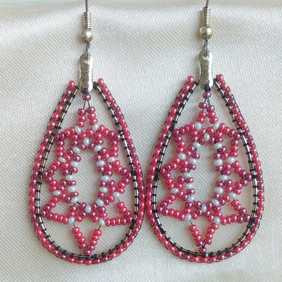 Cranberry Pearl, Red and White Handmade Tear Drop Czech Glass Big Beaded Dangel Earrings