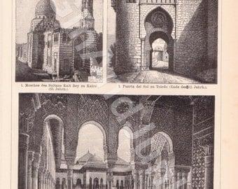 ANTIQUE ART PRINT, Art of Islam, Building Print, Architecture Print, Architecture Plate, Islamic Art, Islamic Buildings, Building Lithograph
