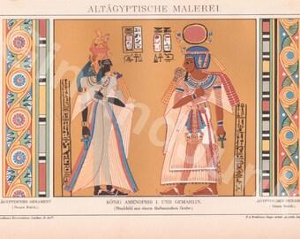 ANTIQUE EGYPTIAN PRINT, Egyptian Print, Egyptian Lithograph, Hieroglyphics, Hieroglyphic Print, Ancient Art, Egypt, Ancient Egypt, Pharaohs