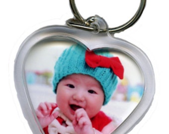 Personalised large heart shaped Double Sided Keyring different photo's can be used on each side