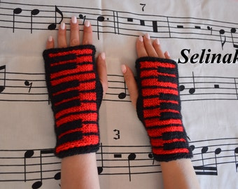 Knit Piano Red Fingerless Gloves Mittens Hand Wrist Warmers Music