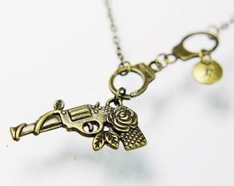 Gun Necklace, Bronze Handgun Charm, Revolver Necklace, Pistol Charm, Bronze Necklace, Gun Charm Necklace, Revolver Pendant, Pistol Necklace