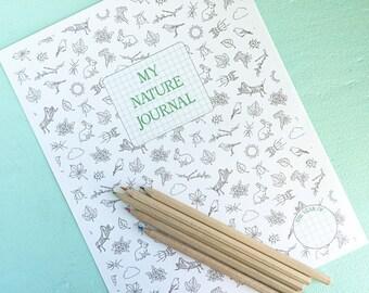 NATURE JOURNAL Printable- Instant PDF Download- nature study, first nature journal, kids journal, naturalist, backyard, educational