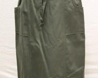 Vintage Bonworth Green Wrap Skirt w/Over Sized Pockets/Size S/Medium Weight/Knee Length/SPRING/summer/career/casual/fall/hippie/mod/rocker