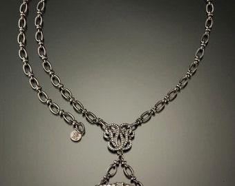 Art Deco Dress Clip Necklace, Gothic Gunmetal Design