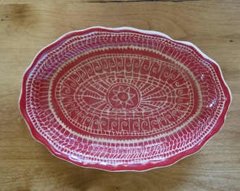 Red and White Casserole or Serving Dish