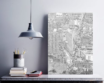 New York City Printable, Flatiron Building, New York Skyline, New York Printable Art, Black and Whites Sketches , Sketches, New York Gifts